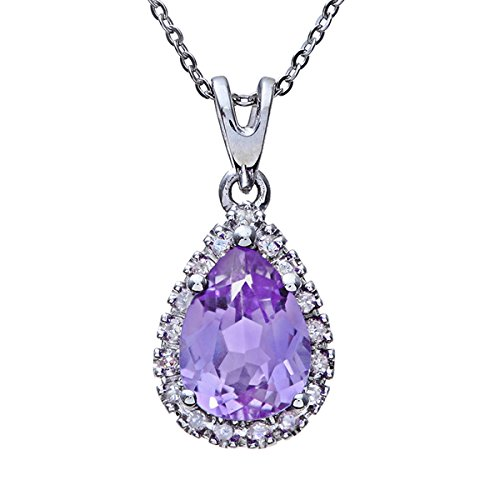 Naava Women's 9 ct White Gold Teardrop Pendant + 46 cm Chain Necklace, Amethyst and Diamond Stones
