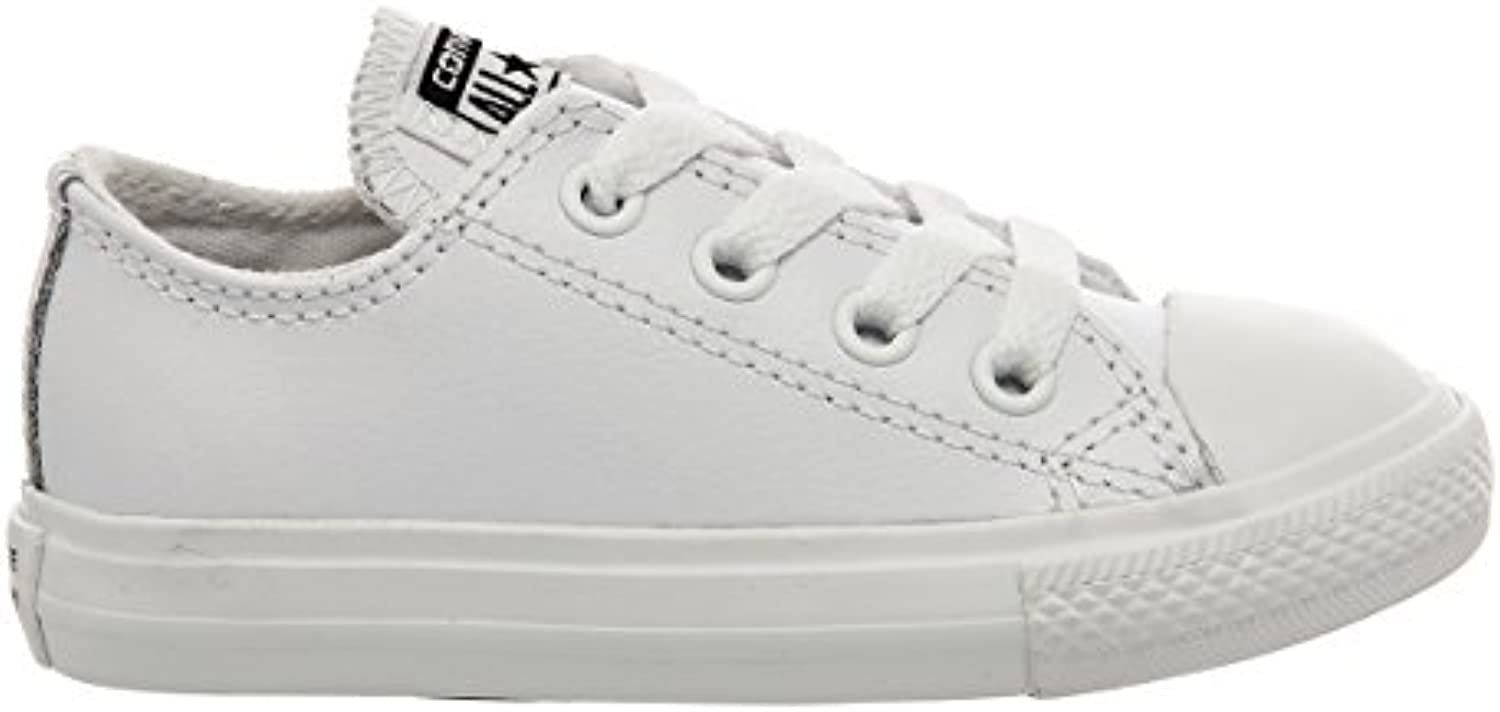 Converse Chuck Taylor All Star OX White Monochrome Leather Baby Trainers