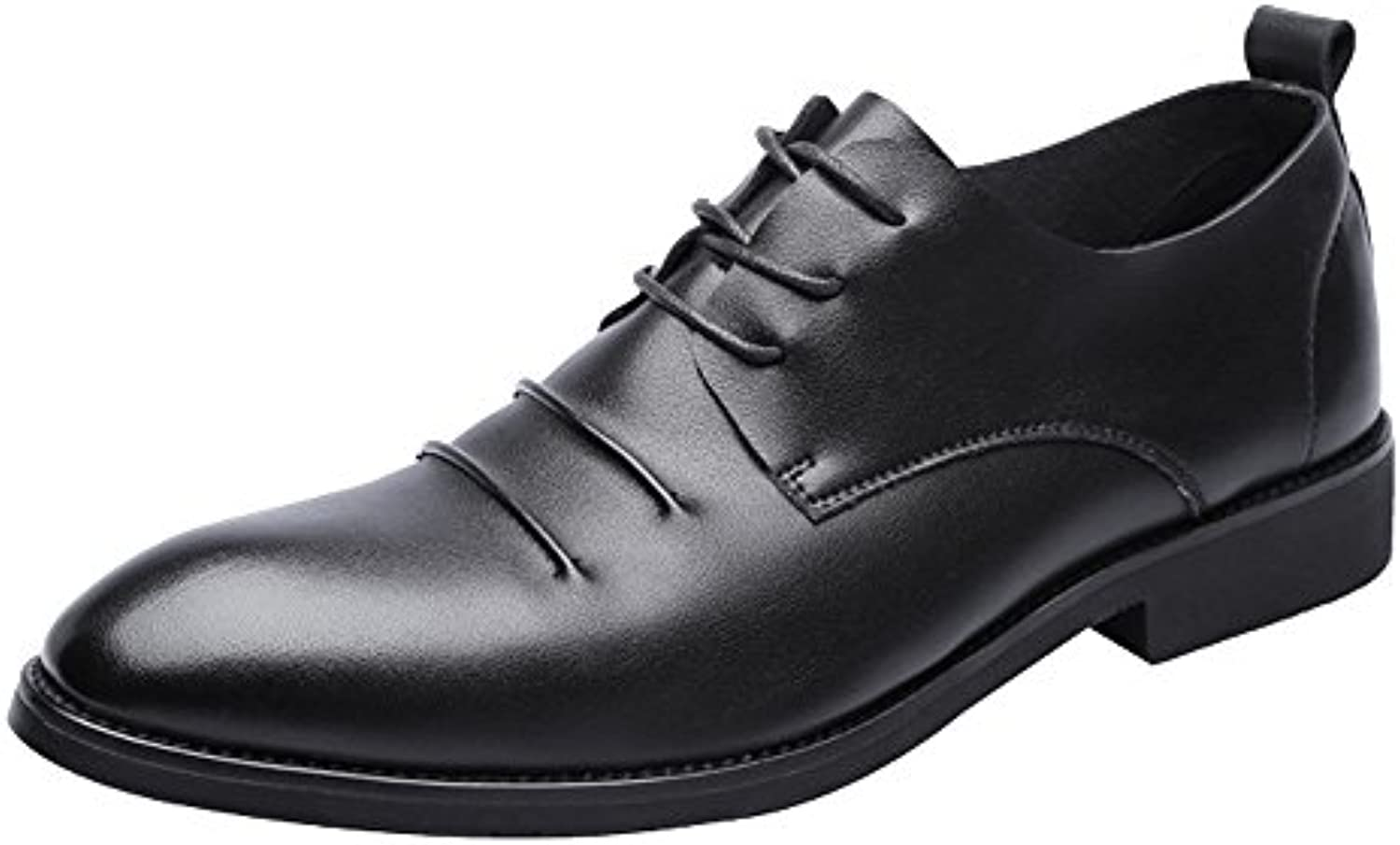 Yaojiaju Herrenschuhe Casual Matte PU Leder Slipper Lace up Breathable Spitz Toe Oxfords Schwarz