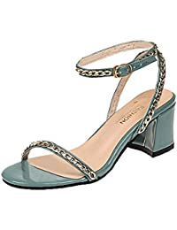 82ff85a650c2b6 S H-NEEDRA Frauen Metall Dekoration Runde Kappe Haspe Quadrat Heel  Sandaletten Hochhackige Schuhe