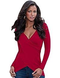T Amazon bluse e shirt BoBoLily Maglie lunga it a manica top nO1RwYaOq d3a9336b708f