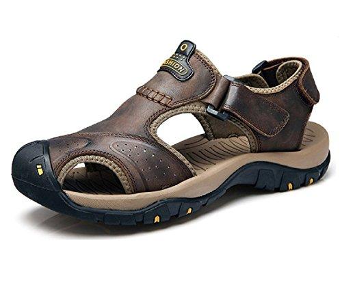 T-gold sandali sportivi da uomo estive sandali in pelle punta chiusa scarpe da trekking(46 eu,marrone scuro)