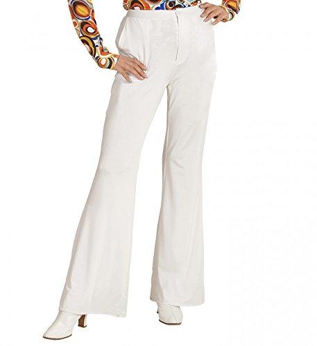 70er Jahre Retro HOSE in diversen Farben Disco Damen Kostüm Schlaghose Siebziger, Größe:L/XL;Farbe:Weiß