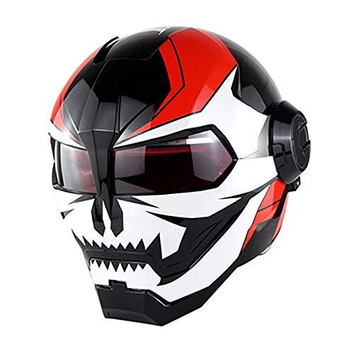 t Helm Iron Man Motocross Helm Vollgesichts D.O.T zertifizierte Transformatoren Maske offen Motorradhelm/hellweiß roter Teufel,XL ()