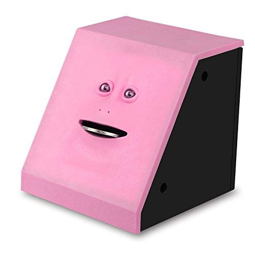 TiooDre Banco Cara Dinero Seguro Comer Caja Piggy Bancos Come Caja de Monedas para Ahorrar Dinero Creativa Cajas Fuertes Hucha Regalo de los niños (Rosa)