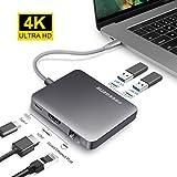 USB 3.0 Hub, OneAudio 2 Ports Aluminium USB Hub 4k HDMI Ladeanschluss mit Gigabit Ethernet Netzwerkadapter USB C Adapter USB Verteiler für Windows, Mac OS & Linux