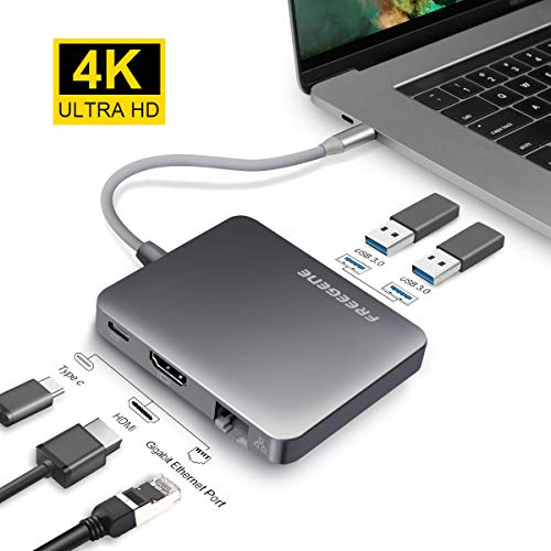 USB 3.0 Hub, OneAudio LAN Adapter, USB Hub 4k HDMI Ladeanschluss mit Gigabit Ethernet Netzwerkadapter, LAN Hub, USB C Adapter USB Verteiler für Windows, Mac OS & Linux