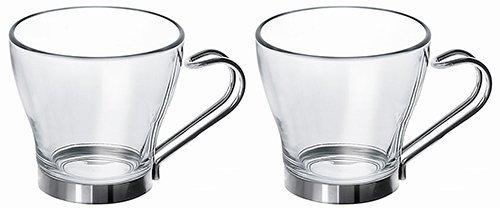 Fitting Gifts Bistro Collection Tasses à Espresso en Verre avec Anses en Acier Inoxydable 10cl (Lot de 2)