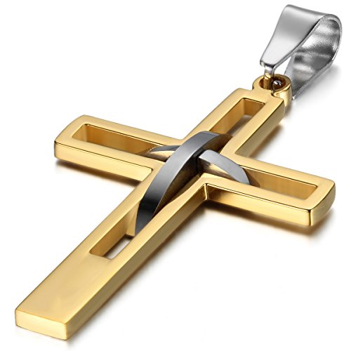 JewelryWe Schmuck Edelstahl Anhänger Halskette Gold Silber Kreuz hohle Openwork Jahrgang Poliert Herren