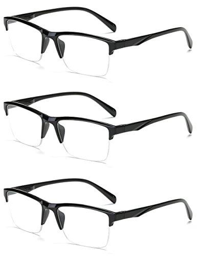 VEVESMUNDO Lesebrille Herren Damen Modern Halbrahmen Lesehilfe Sehhilfen Halbrand Schwarz Brillen 0 0,25 0,5 0,75 1,0 1,25 1,5 1,75 2,0 2,25 2,5 2,75 3,0 3,25 3,5 3,75 4,0 (3 Stück Lesebrillen, 0.5) 05 Brille