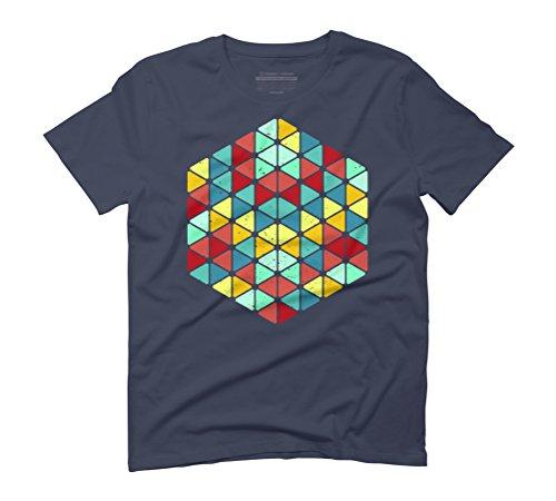 Geometric trangles colour Men's Graphic T-Shirt - Design By Humans Navy