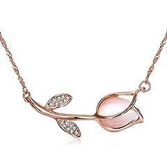 Idea Regalo - Collana donna oro rosa tulipano fiore con pietra di cristallo opale ciondolo collana
