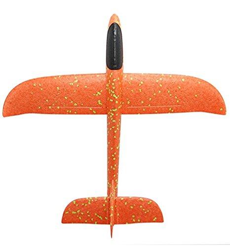 kitchare Schaumstoff Wurfgleiter,Kinder Wurf Segelflugzeug Glider Flugzeug Spielzeug Outdoor Sport(Orange)