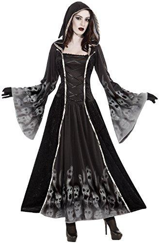 Damen voll Länge mit Kapuze Feurig Sexy Soul Eater Sensenmann Halloween Karneval Kostüm Verkleidung Outfit (Sensenmann Sexy Kostüme)