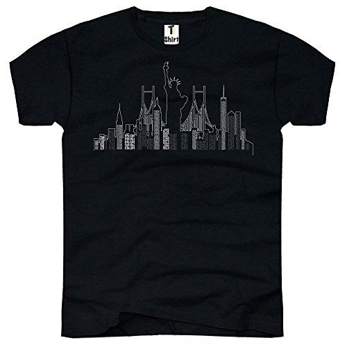 TEE-Shirt, Herren T-Shirt mit Aufdruck . Coole Motive. T-Shirt mit New York Skyline Druck. Schwarz