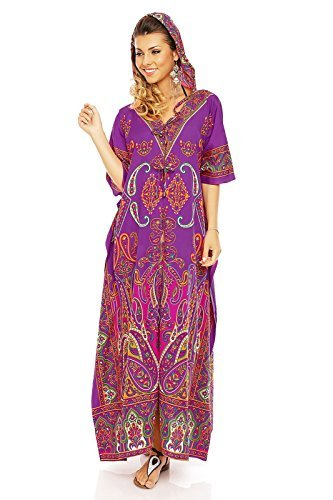 Looking Glam Damen voll Länge überdimensional Maxi Kimono Tunika mit Kapuze Kaftan Kleid - Lila, 46-52 (Lila Kaftan)
