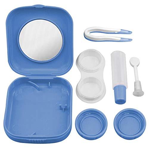 Da.Wa Mini mit Spiegel Kontaktlinsen Box kompakte Kontaktlinsenbehälter Kontaktlinsen Behälter,Hellblau