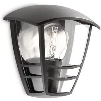 Philips Creek Lampada da Parete da Esterno, Lanterna Luce Diffusa, senza lampadina, Alluminio, Nero