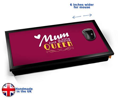 Mum Queen Typography Art Print Cushioned Bean Bag Laptop Lap Tray Desk - Built-in EMF Shield (Electro Magnetic Field) Kissen Tablett Knietablett Kissentablett - Schwarzer Rahmen