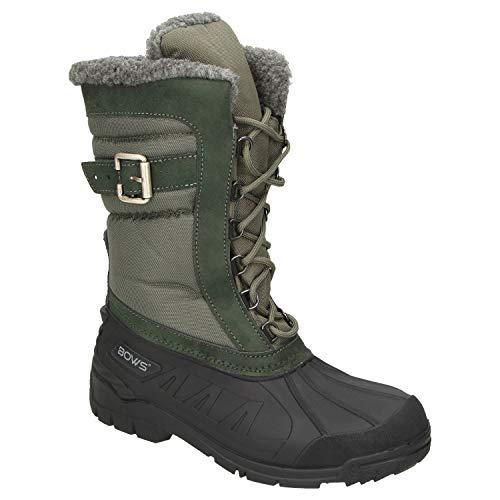 BOWS® -SUSI- Winterstiefel Damen Schnee Stiefel Snow Schuhe Winterboots warm gefüttert wasserdicht wasserabweisend, Schuhgröße:38, Farbe:grün