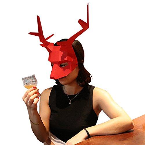 (Homelix 3D Papier Maske Tierkopf Formen DIY Halloween Party Kostüm Cosplay Gesichts Papier-Craft Kit (Hirsch))