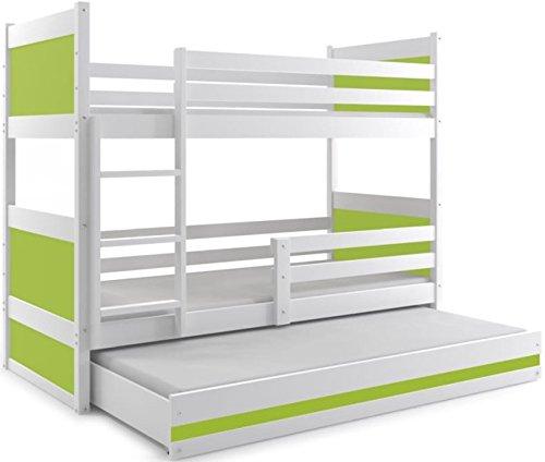 Letto triplo rico 160x80, letto a castello con il terzo lettino estraibile, cameretta per bambini e ragazzi, materassi di gommapiuma in omaggio (verde)
