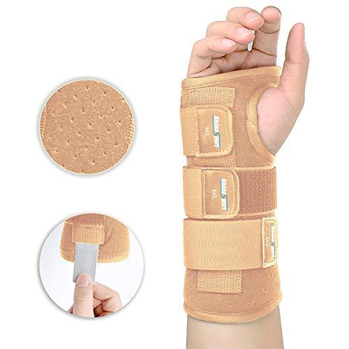 RhinoSport Handgelenk Bandagen handschiene karpaltunnelsyndrom schiene Schutzfunktion handbandage, Schmerzlinderung und die Stabilität unterstützen (Rechte-Beige, S/M(13-17CM))