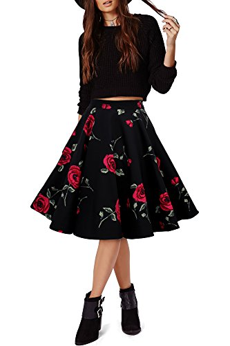 Black Butterfly Floreale Lungo Rockabilly Anni 1950 Gonna A Ruota