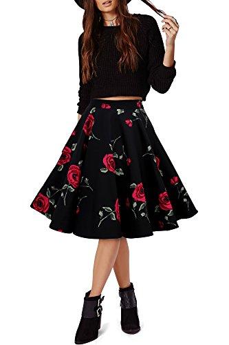 Black-Butterfly-Vintage-De-Flores-Rockabilly-Estilo-De-Los-50-Falda-Acampanada