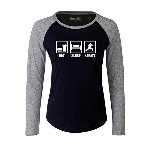 Brand88 - Eat Sleep Karate, Damen Langarm Baseball T-Shirt Blau & Grau