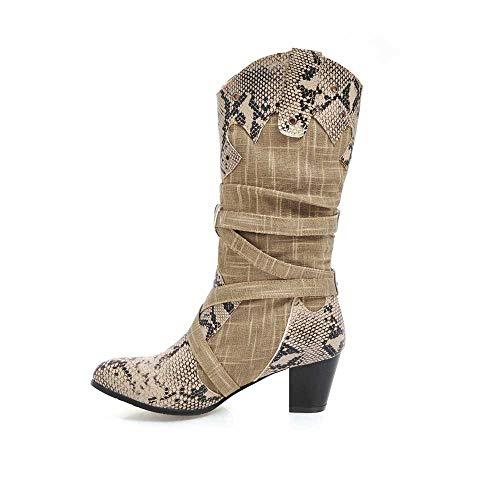 JURTEE Damen Winter Schuhe Langschaft Stiefel Schlange High Heels Winterstiefel Spitz Stiefel