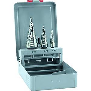 alpen 72200003100 HSS Stufen-Bohrer, Größe 1 | 2 | 3, Ø 4-30 mm als 3-teiliger Satz in der Metallkassette