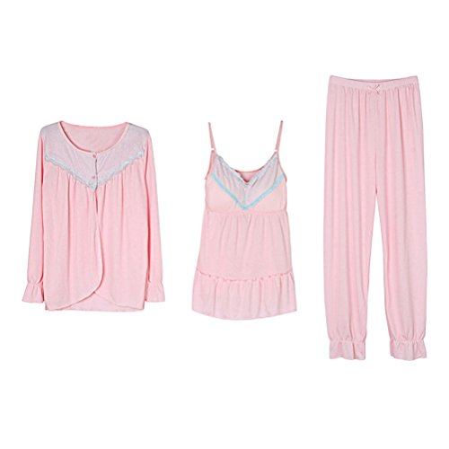 Zhuhaitf Gute Qualität Womens Comfy Round neck Long Sleeve Pajamas Fashion Three-piece Nightwear Pink