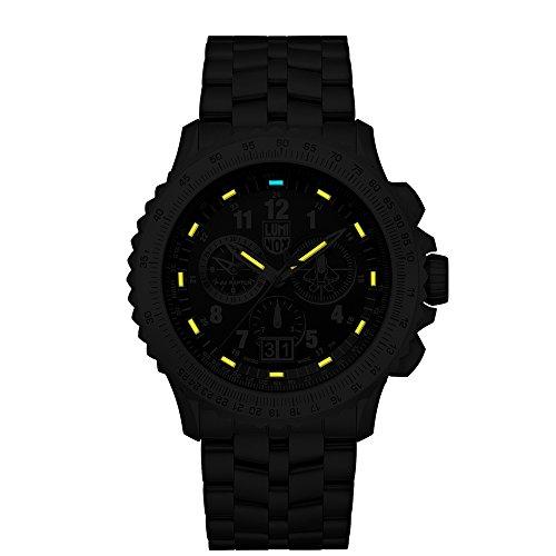 Luminox-F-22-RAPTORTM-Chronograph-Mens-Quartz-watch-with-Black-dial-featuring-LLT-Luminox-light-Technology-45-millimeters-Titanium-case-and-Silver-Titanium-Bracelet-XA9241M