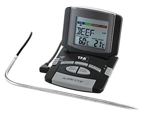 TFA Dostmann digitales Bratenthermometer 14.1502, schwarz mit Clips für Temperaturfühler