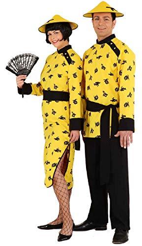 narrenkiste O9290-38-A gelb Damen Chinesin Chinesen Kostüm Kleid lang Gr.38