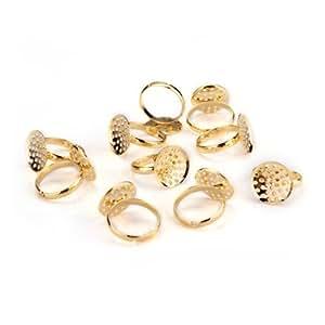 10 Gold Tone Hole Round Adjustable Ring Blanks Base DIY 16mm