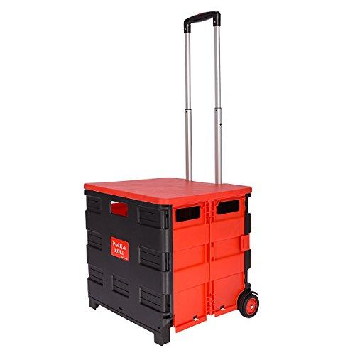 DXP Transport Trolley klappbar bis 35kg Einkaufstrolley Einkaufswagen Klappbox Transportwagen Shopping Trolley Faltbox Aluminium Kunststoff Schwarz WS-02 (Schwarz-Rot mit Deckel)