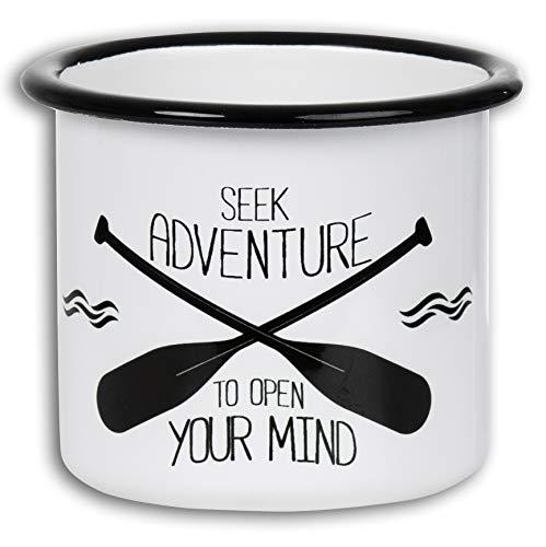 Seek Adventure - Hochwertige Emaille Tasse mit Ruder Design, leicht und bruchsicher - von MUGSY.de