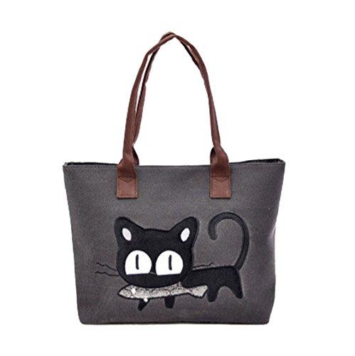Sannysis Frauen-Schulter-Beutel-Segeltuch-Tasche Niedliche Katzen-Tasche Büro-Mittagessen-Beutel (schwarz)