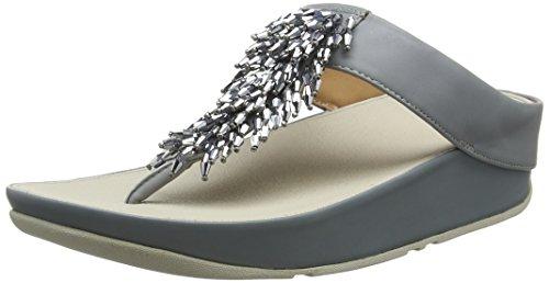 Fitflop Rumba TM Toe-Thong Sandals Crystal, Sandali Punta Aperta Donna, Grigio (Dove Blue 534), 38 EU