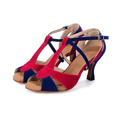 Silence @ pour femme Chaussures de danse latine en similicuir évasé Talon noir