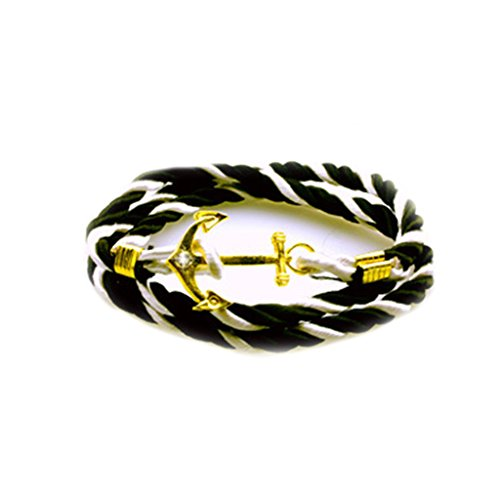 Jiayiqi Brillant Diamante Ancre Bracelet Multicouches Tissé Corde Bracelet Pour Les Femmes Hommes NO 1