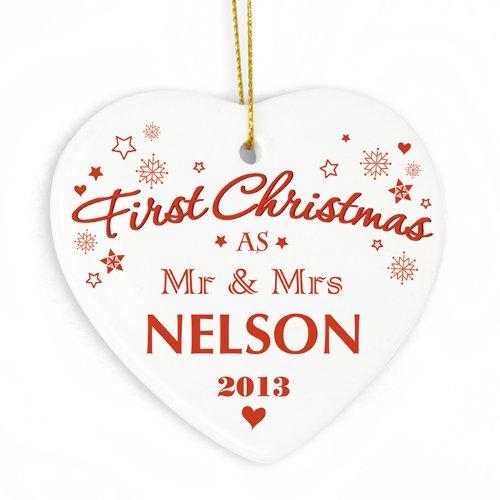 Nuestro primer personaliseitonline bolas de Navidad, Mr y Mrs marro, recién casados, 1st juntos la Navidad, árbol de navidad, regalo de fiesta de boda
