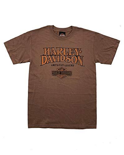 Harley Davidson Original HD T-Shirt für Biker - American Legend Logo Shirt Vintage Harley T-Shirt für Biker - Rockabillys und Harley Fahrer - braun, Größe:S