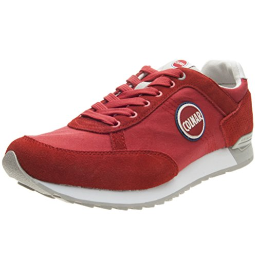 Colmar Travis Colors 013 Red Gray Suede Mesh Sneakers Scarpe Uomo