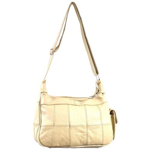 Lorenz - Borsa a tracolla da donna in pelle, con tasca per il cellulare Colore: Nero / Marrone / Fulvo chiaro / Marrone chiaro / Beige Beige (beige)