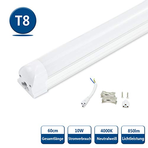 LED Tubo T8 Fluorescente 60cm Blanco Natural 4000K 850lm 10 vatios 230...
