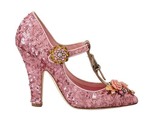 Dolce & Gabbana - Damen Sandalen - Pink Sequin Leather Crystals Sandal - EU 39