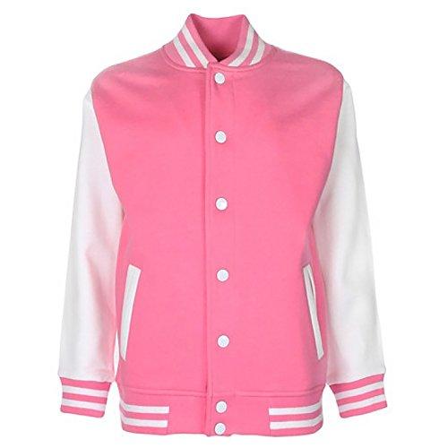 FDM Junior / Kinder Unisex College-Jacke mit kontrastfarbenen Ärmeln 5-6 Jahre,Rosa/Weiß